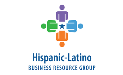 Logo of the Hispanic Latino Business Resource Group showing four people icons forming a square