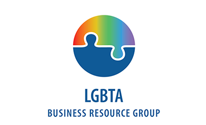 Logo of the LGBTA Business Resource Group showing a rainbow colored puzzle piece fitting with a blue puzzle piece