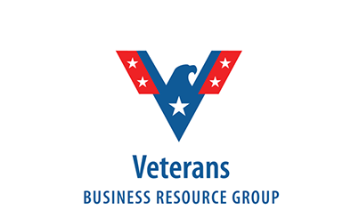 Logo of the Veterans Business Resource Group of a blue eagle with red wings and stars on the wings