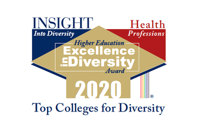 Logo for Top Colleges for Diversity: Insight into Discovery, Health Professions, Higher Education Excellence in Diversity Award 2019