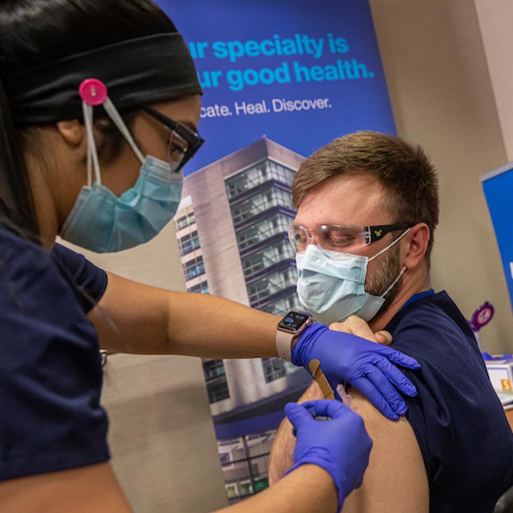 Real-world data at UT Southwestern shows benefit of early vaccination on health care workforce