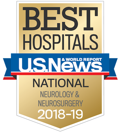 US News 2018 Nationally Ranked in Neurology and Neurosciences