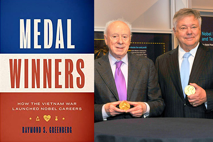 Photo of two men next to cover of book titled Medal Winners