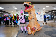 These staff members went prehistoric dressed as Pebbles from The Flintstones and a dinosaur.