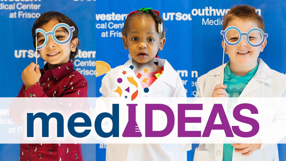 Three children wearing labcoats and holding medical props for photos with the medIDEAS logo overlaid