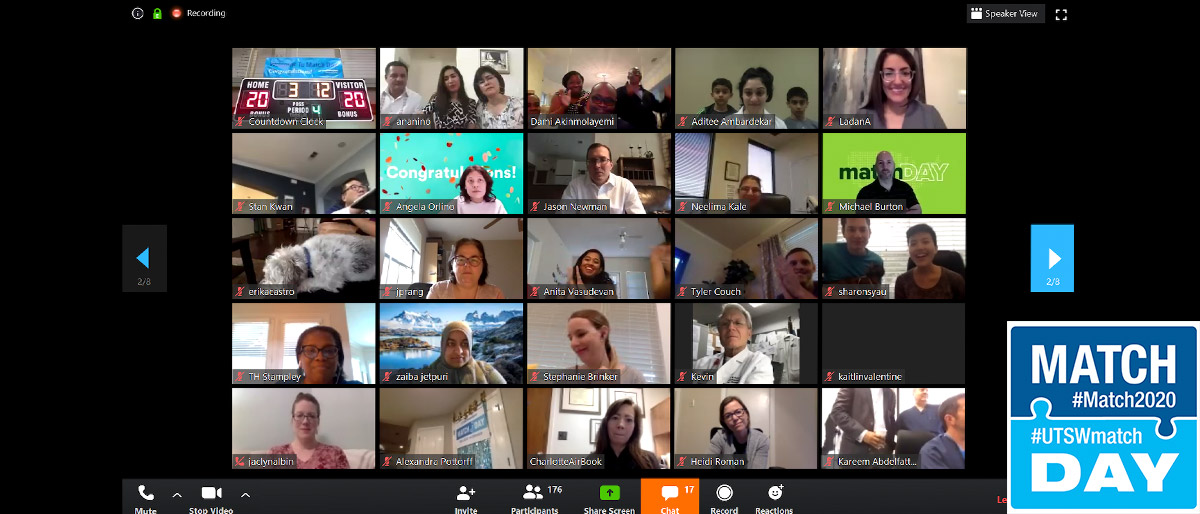 Screenshot of video conference with dozens of people connected