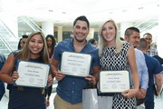Nursing residents Tessa Moreno, Richard Escobedo, and Sierra Motley show off their certificates of completion