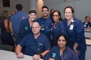 Seated, from left: Registered Nurse Houston Carr, Registered Nurse Anu Samuel. Standing, from left: Registered Nurse Mica Choate, Nursing Resident Resident Jonathan Philipose, Registered Nurse Tamla Wells, Nursing Manager Valorie Frederico