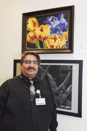 Edwin Montes, with Tulips (Works on Paper, Professional, first place)