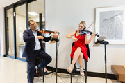 Violinists performed at the VIP preview reception and ribbon-cutting event at which UTSW President Dr. Daniel K. Podolsky spoke about its exciting new partnership with Texas Health Resources at the Frisco medical campus.