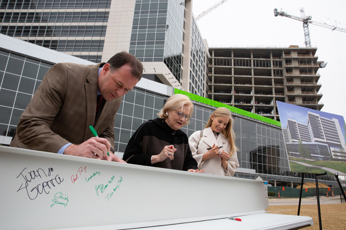 Photo of beam signing at CUH Milestone Ceremony