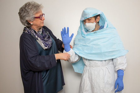 Dr. Perl with ebola worker