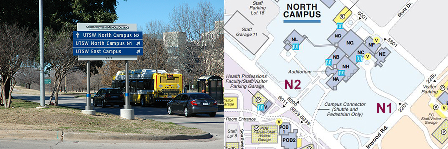 Graphic illustrating the N1 and N2 areas of UTSW campus