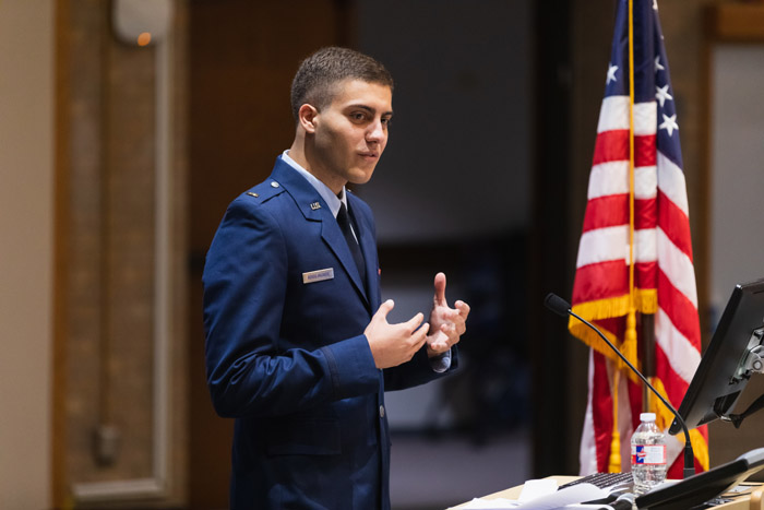 Man in Air Force uniform at podium
