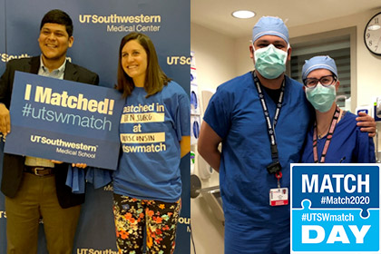 Man and woman smiling holding match day sign, then in another photo of them in scrubs and surgical masks