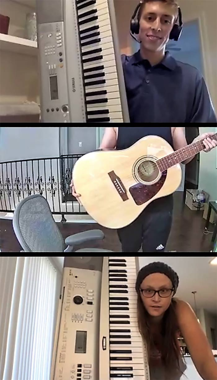 Three boxes from a zoom call, two holding keyboards and one holding a guitar