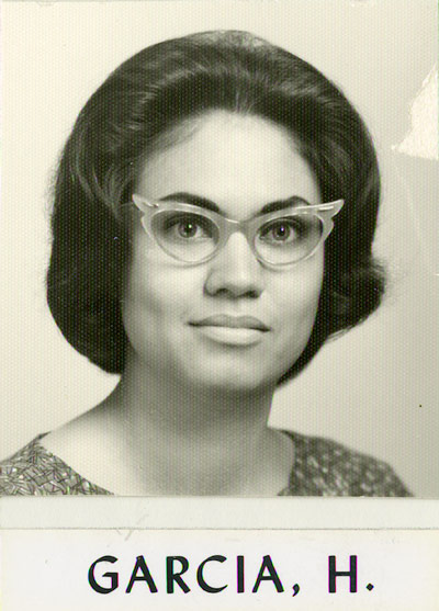 Woman with glasses in black and white photo