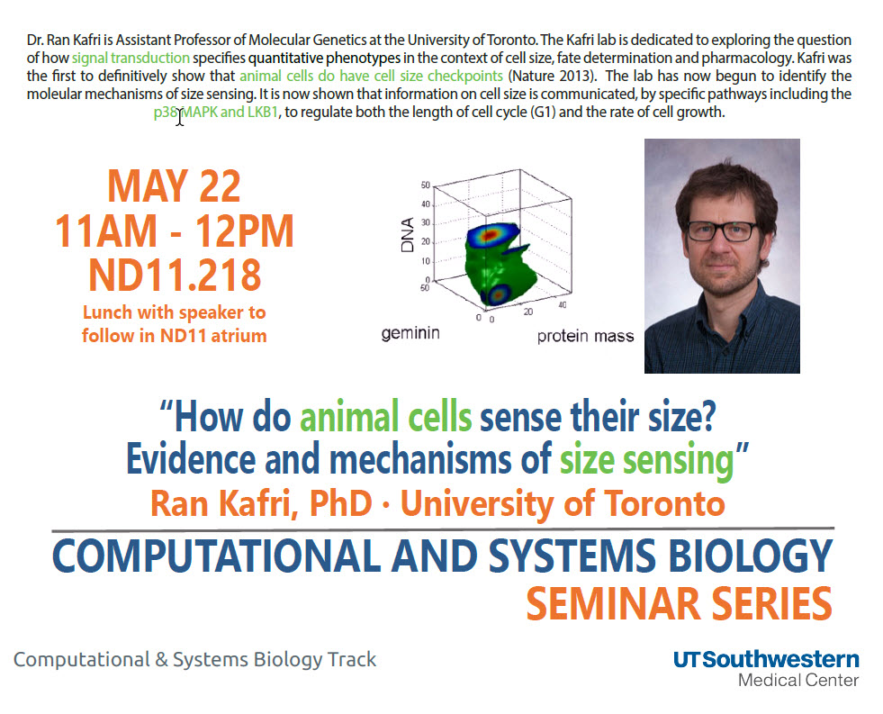 Csb Seminar May 22, 2017: Bioinformatics - Ut Southwestern, Dallas