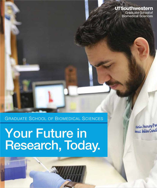 Brochure cover image of a man working at a research lab