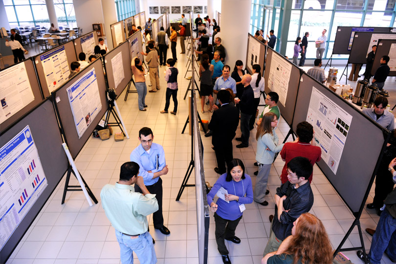 More than 100 Graduate School students with their posters at the Research Symposium