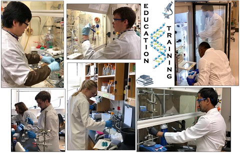 Composite photo of biochemistry students in labs