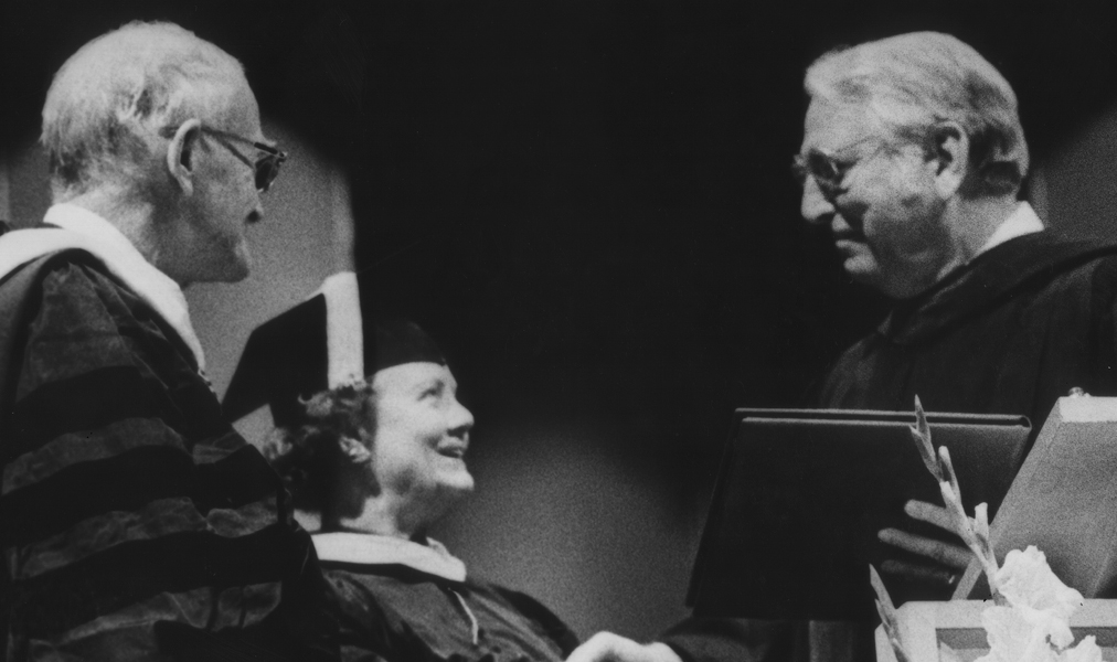 Cecil and Ida Green accepting a tribute from Dr. Sprague in 1972