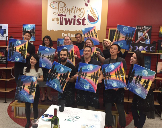 residents painting with a twist