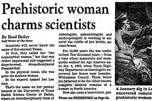 Newspaper clipping with headline Prehistoric woman charms scientists