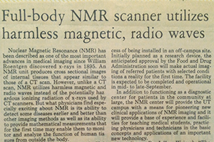 Newspaper article with headline Full-body NMR scanner utilitzes harmless magnetic, radio waves