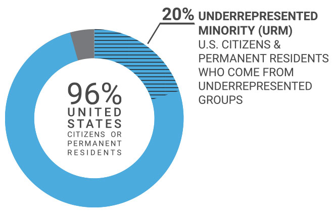 Class demographics image showing 96% of students are U.S. citizens or permanent residents and 20% are underrepresented minority (URM) U.S. citizens and permanent residents who come from underrepresented groups