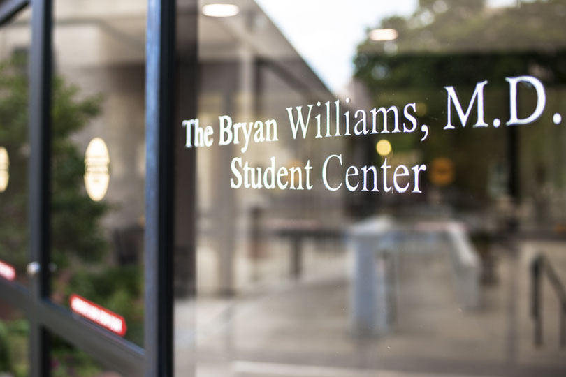 Name on the door of the Bryan Williams, M.D. Student Center