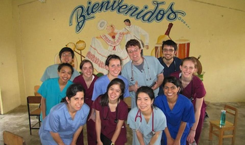 Students gather at a health clinic, Panama
