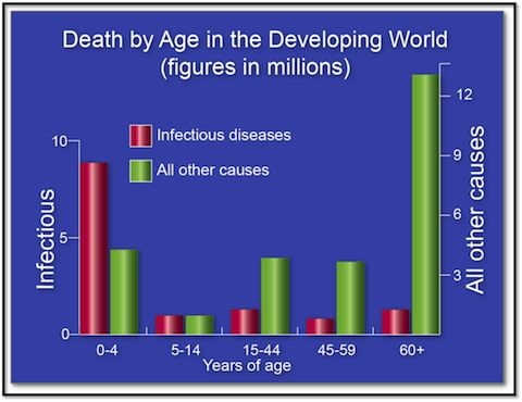 Chart displaying death by age in the developing world