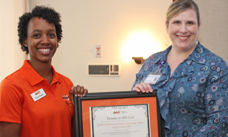 Chloe Rogers, National Multiple Sclerosis Society (left) and Dr. Angela Flores, UT Southwestern MS Program.