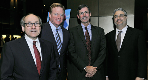 (from l-r) Dr. Daniel K. Podolsky, UTSW President; Roger Goodell, NFL Commissioner; Dr. Hunt Batjer, Chair of Neurologicial Surgery; Dr. Mark Goldberg, Chair of Neurology and Neurotherapeutics at the 2014 Paul M. Bass Neurosurgery Symposium on Traumatic Brain Injury.