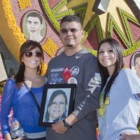 The Espino family in front the 2012 Tournament of Roses Donate Life float.