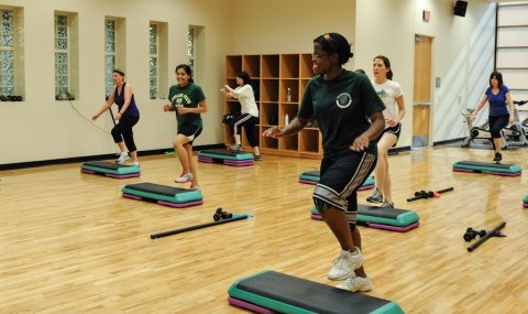 A step aerobics class at the Student Center.