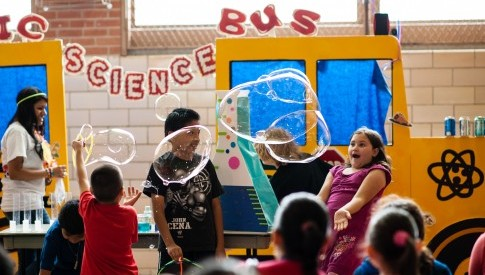 T.J. Rusk Middle School students having fun with bubbles and science
