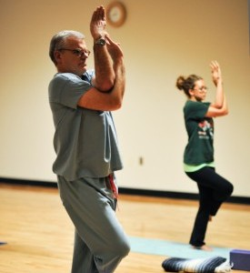 Participants in a yoga class offered at the Student Center.