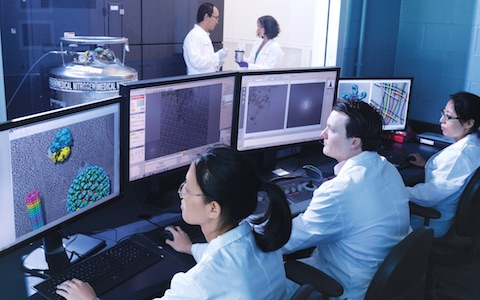 Team members in the cryo-electron microscope facility view 3-D images of objects obtained from the high-powered Titan Krios microscope (background)