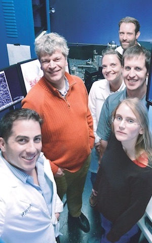 Members of a research team from the Lyda Hill Department of Bioinformatics who helped build and test a microscope capable of creating 3-D images of living cancer cells included (clockwise from left) Drs. Kevin Dean, Gaudenz Danuser, Claudia Schäfer, Erik Welf, Reto Fiolka, Meghan Driscoll.