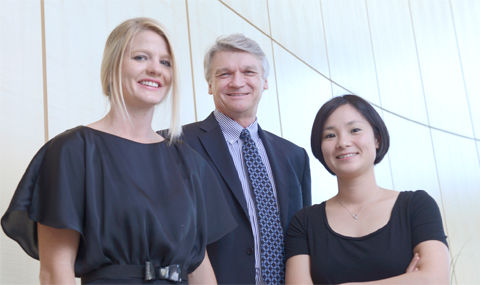 Frank Grassler with Drs. Kristi Lynn and Aki Uchida (right)