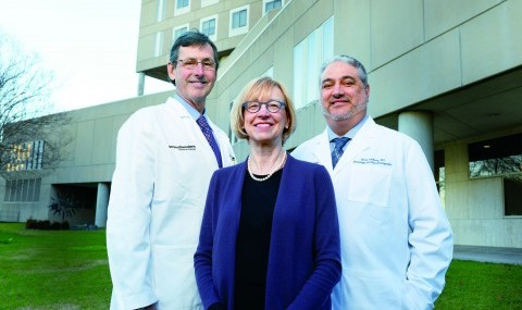Dr. Hunt Batjer, Chair of Neurological Surgery (left), Dr. Kathleen Bell, Chair of Physical Medicine and Rehabilitation (center), and Dr. Mark Goldberg, Chair of Neurology and Neurotherapeutics (right), lead UT Southwestern Medical Center's Texas Institute for Brain Injury and Repair.