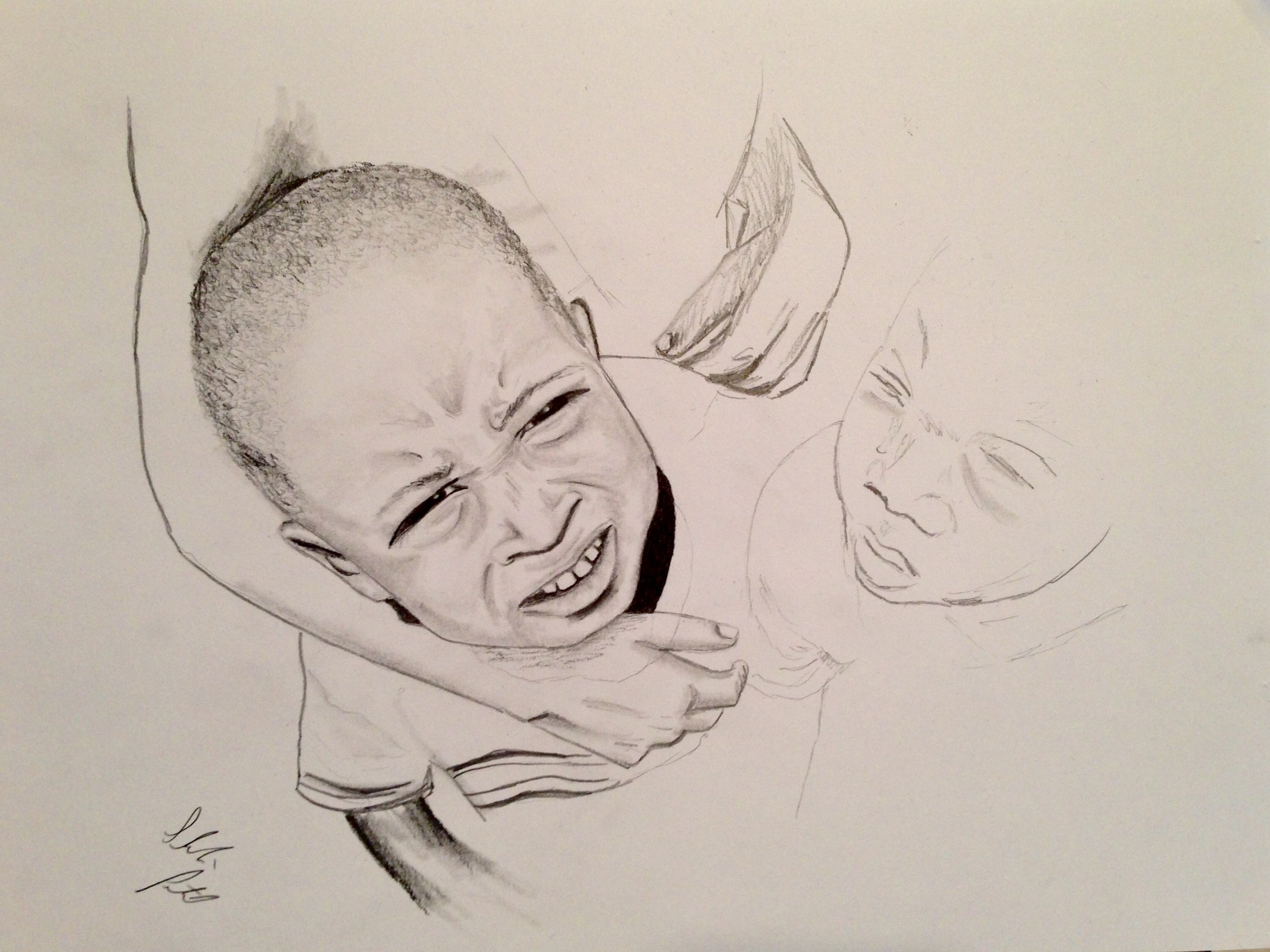 Drawing of child with another person's arm wrapped around his head