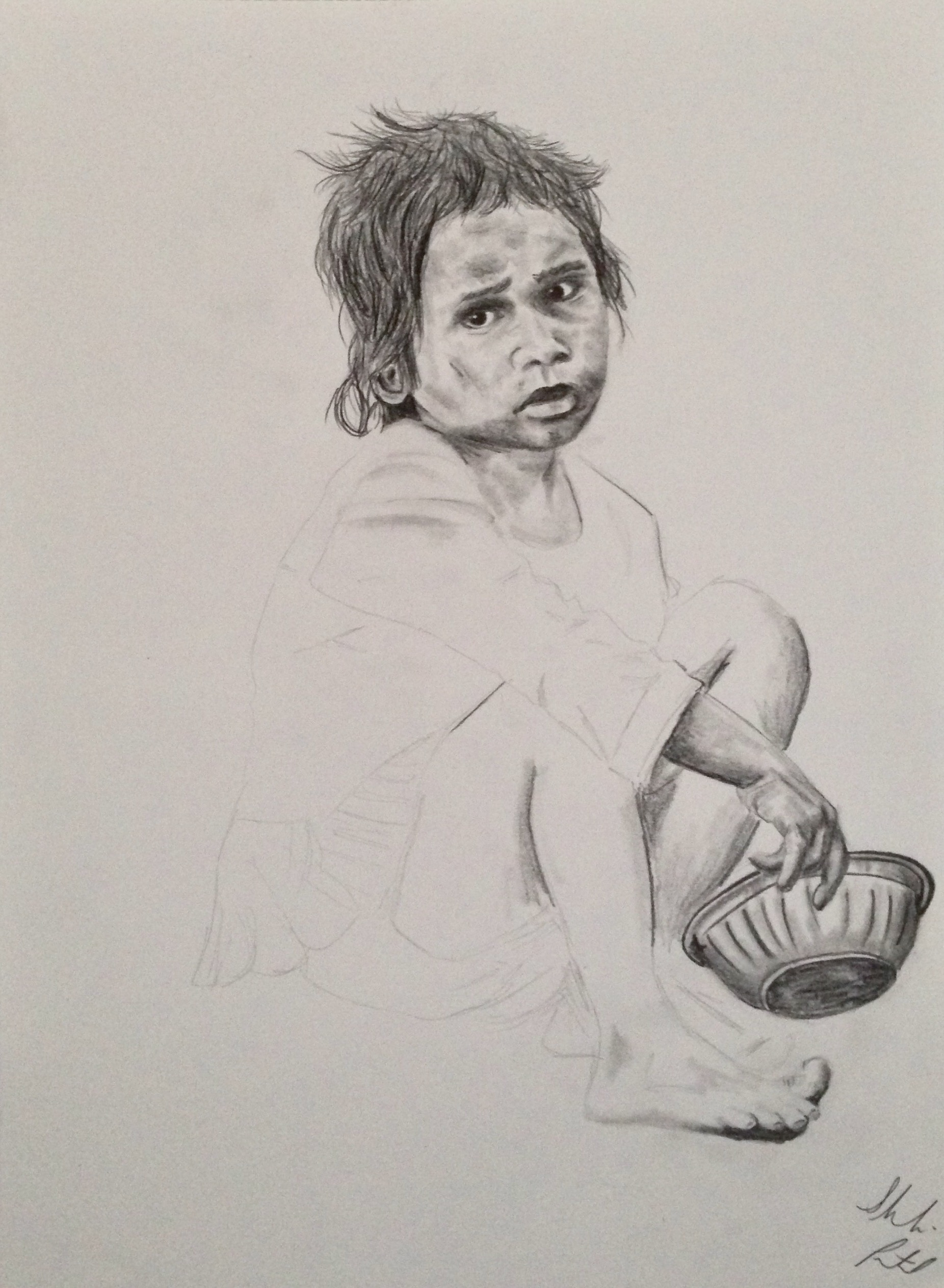 Drawing of seated girl with bowl