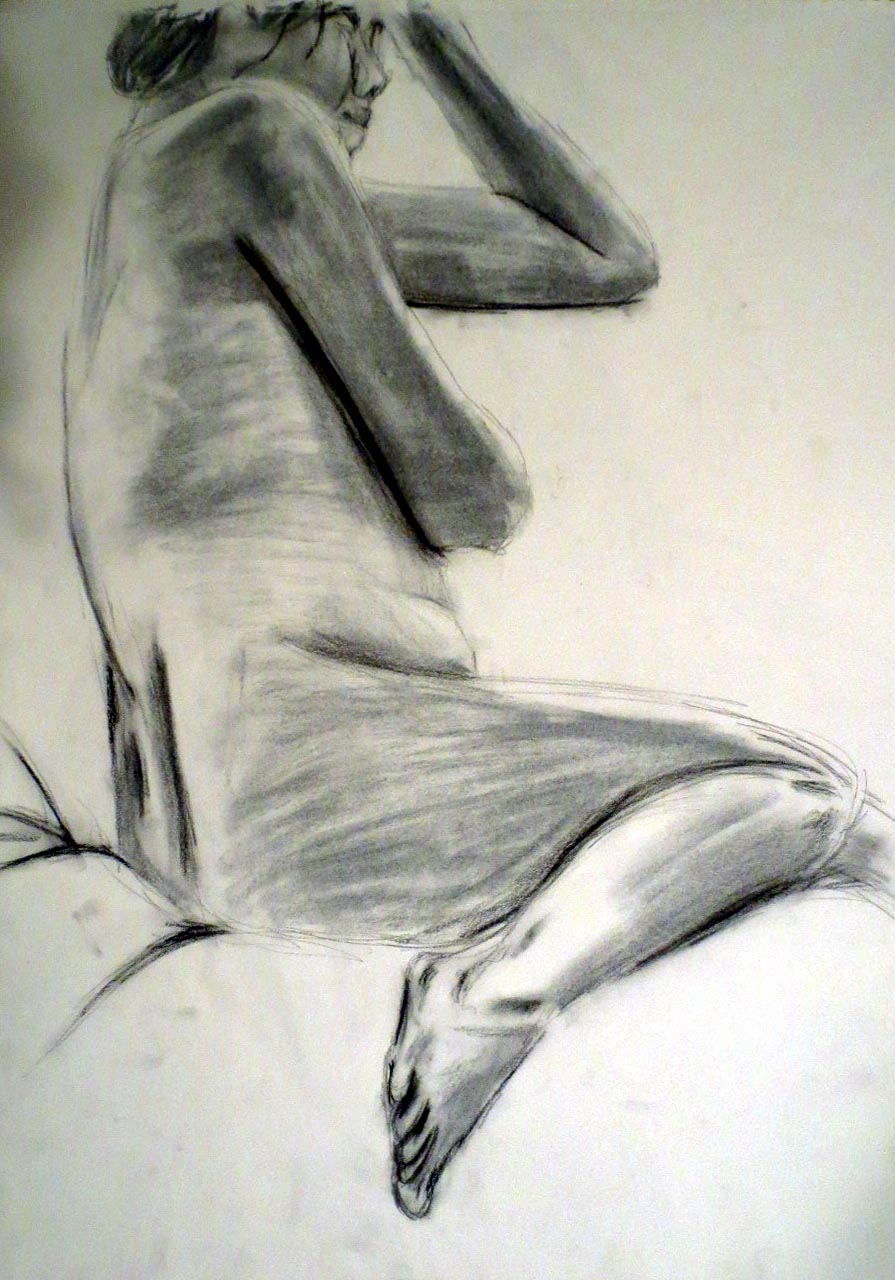 Pencil drawing of nude woman reclining on her left side