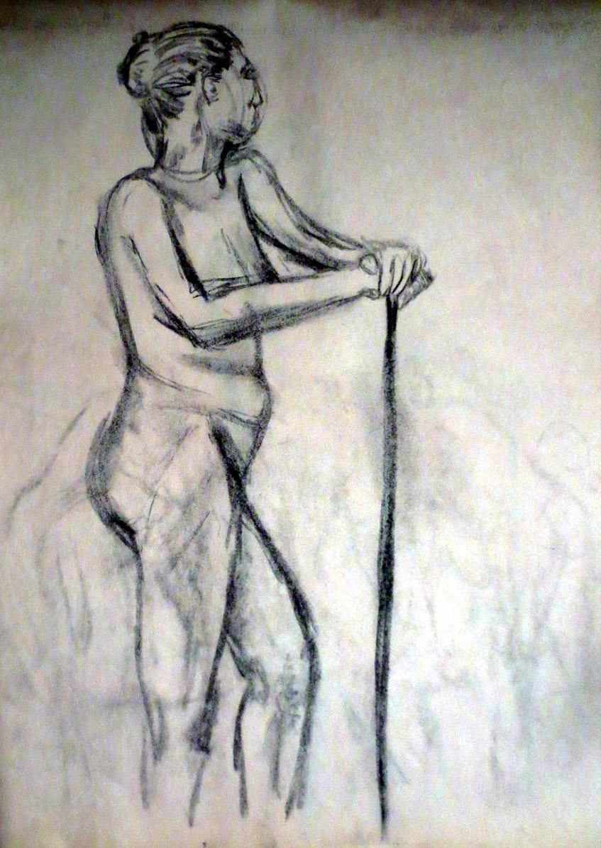 Pencil drawing of nude person standing with a stick