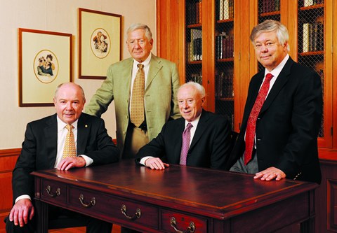 Our Nobel laureates include (from left to right) Drs. Johann Deisenhofer, Alfred Gilman, Joseph Goldstein, and Michael Brown.