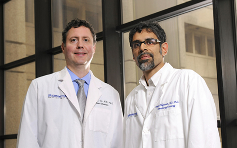 Dr. Rhea Sumpter Jr. (left) and Dr. Deepak Nijhawan have been selected to receive the 2013 Distinguished Researcher Awards by the President's Research Council.