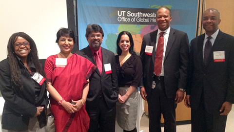 Associate Dean of Global Health Dr. Fiemu Nwariaku (second from right) led a recent conference at UTSW on adopting technology in a global health setting. Featured speakers included (from left) Dr. Egbe Osifo-Dawodu, Dr. Meena Cherian, Dr. Lakshman Tamil, Dr. Sujata Bhatia, and Okechukwu Okuzu.